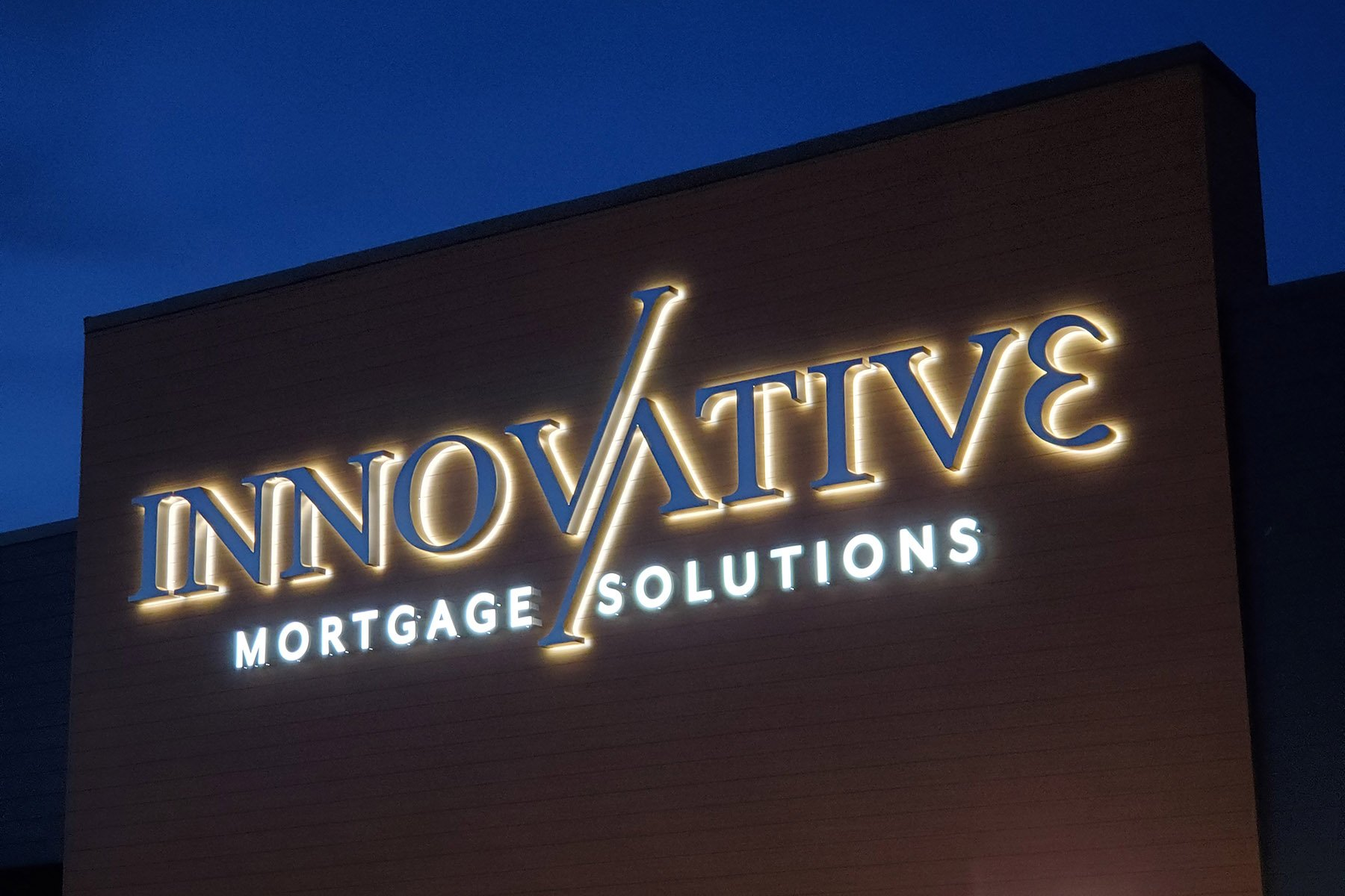 Halo-lit Channel letters for Innovative Mortgage Solutions