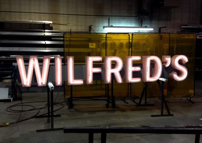 Wilfreds flexbrite sign with open-faced channel letters