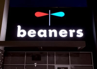 Beaners Night view of main sign